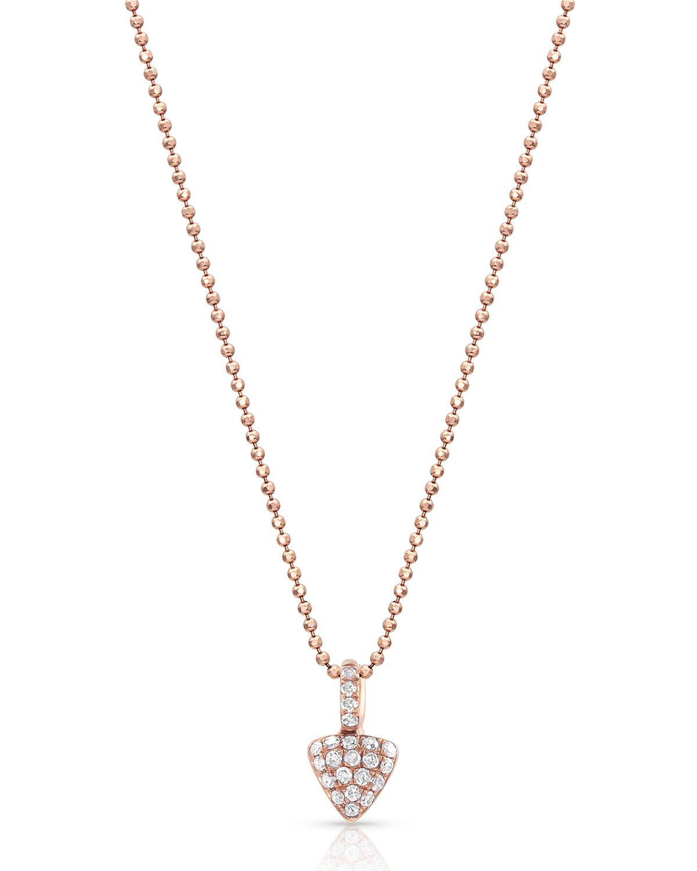 18k Rose Gold Diamond Petite Triangle Pendant Necklace