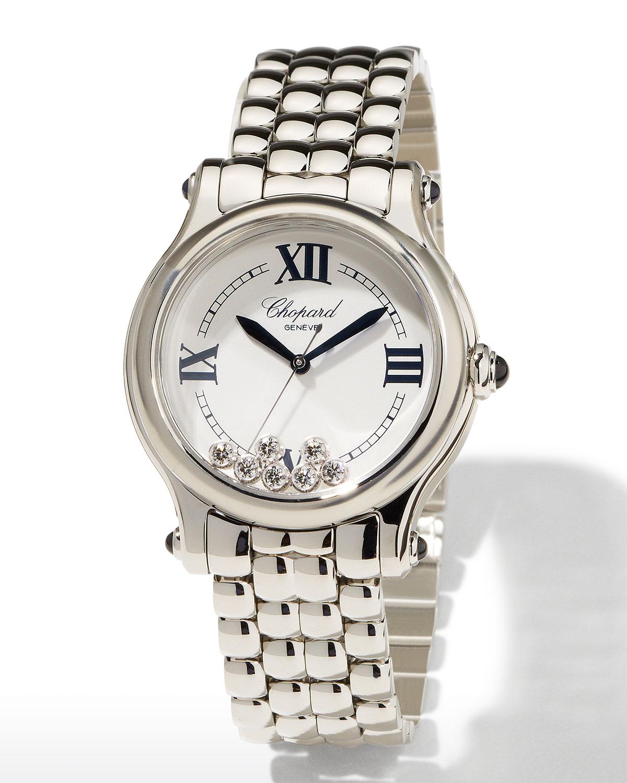 Happy Sport Stainless Steel 7-Diamond Watch