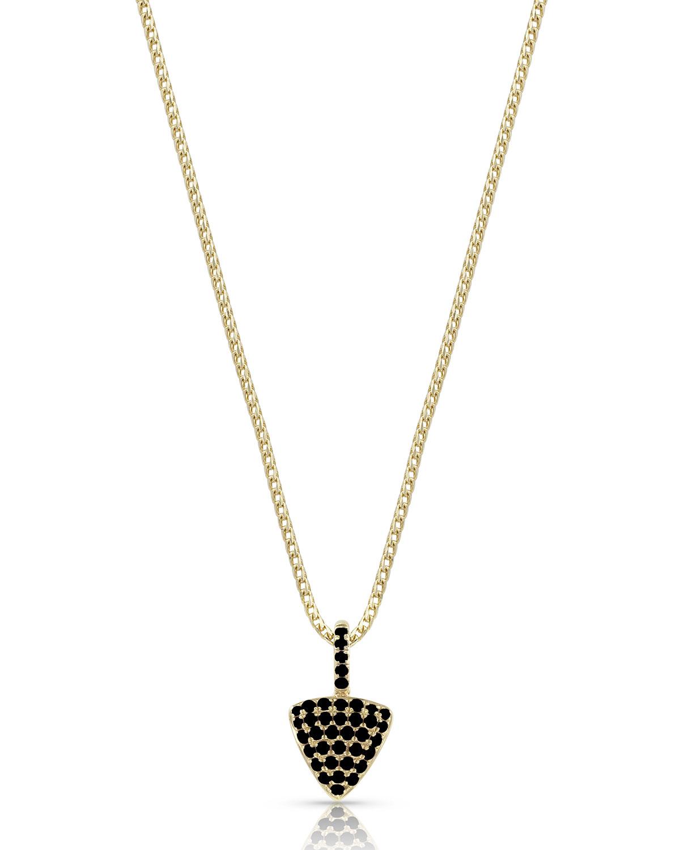 18k Gold Black Diamond Triangle Pendant Necklace
