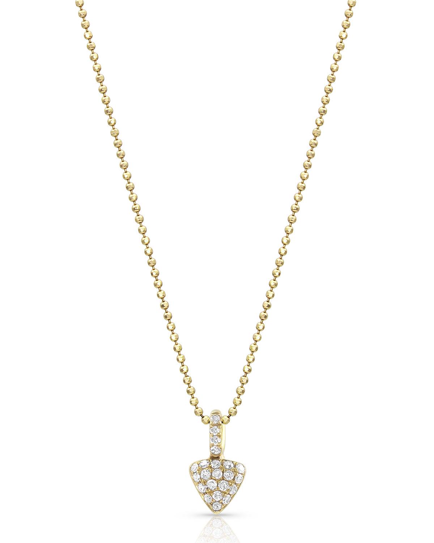 18k Yellow Gold Diamond Petite Triangle Pendant Necklace