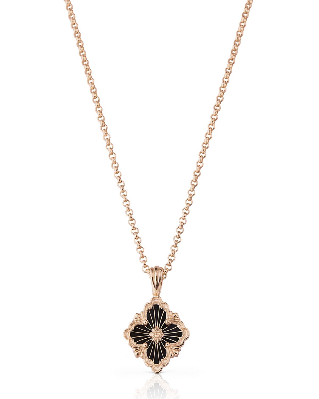 18k Pink Gold Onyx Pendant Necklace