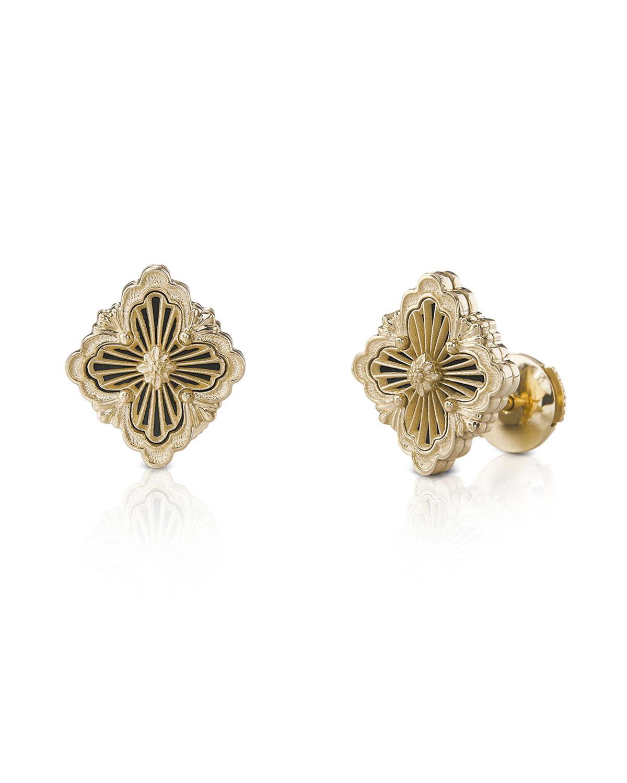 18k Pink Gold Onyx Button Earrings