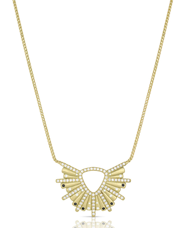 18k Gold Sunburst Diamond and Black Diamond Pendant Necklace