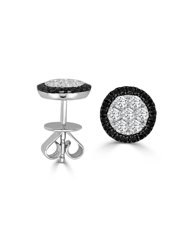 Round Firenze II Black and White Diamond Earrings