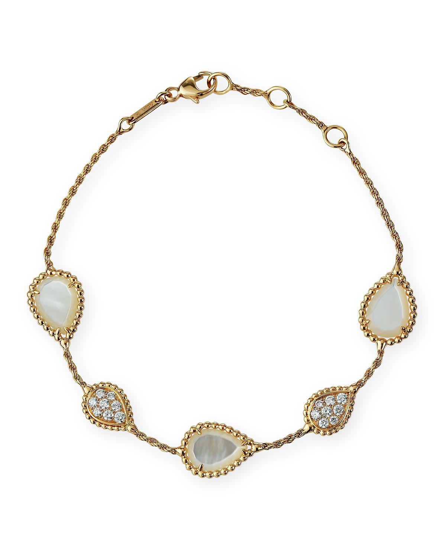 18k Yellow Gold Serpent Boheme 5-Motif Mother-of-Pearl Bracelet