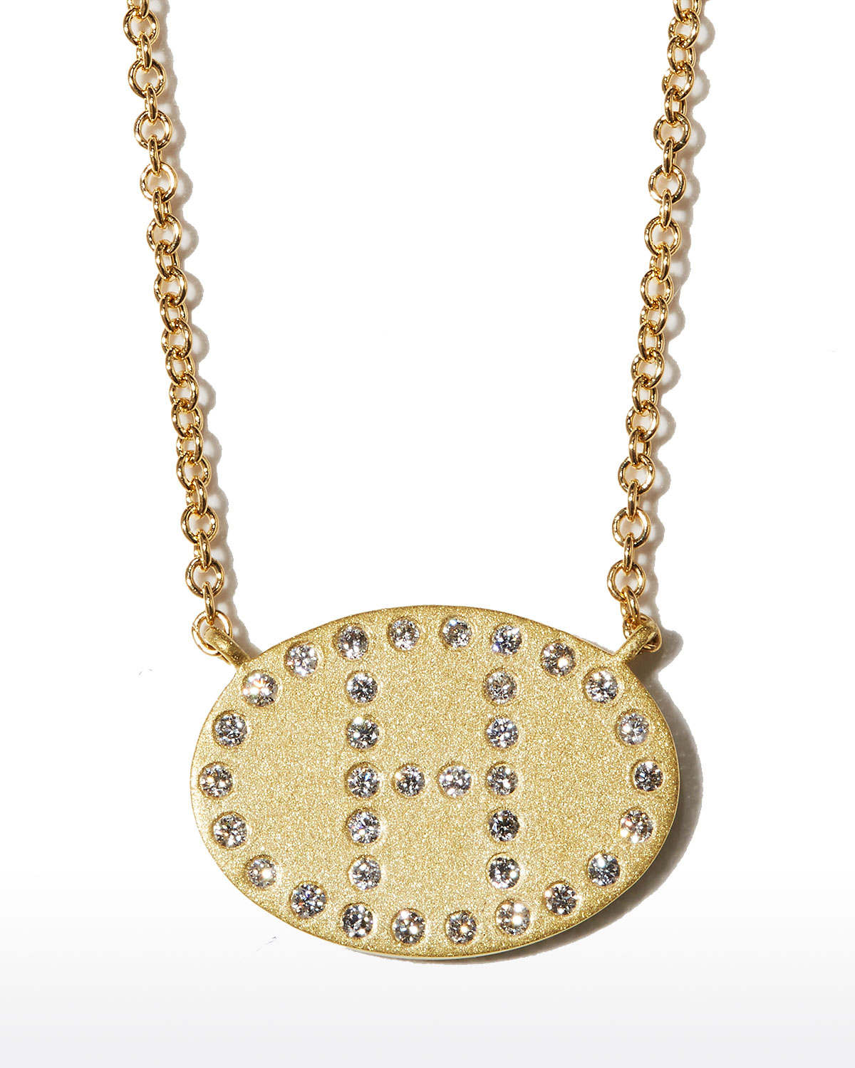 """18k Yellow Gold Diamond Initial """"H"""" Oval Necklace"""
