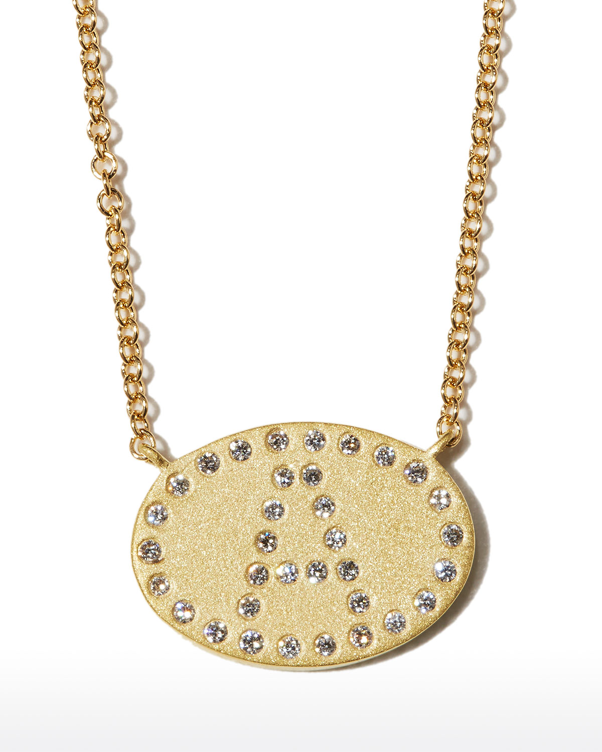 """18k Yellow Gold Diamond Initial """"A"""" Oval Necklace"""