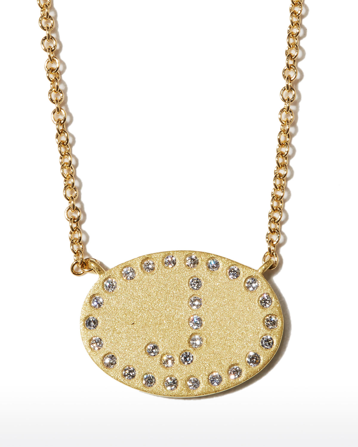 """18k Yellow Gold Diamond Initial """"J"""" Oval Necklace"""