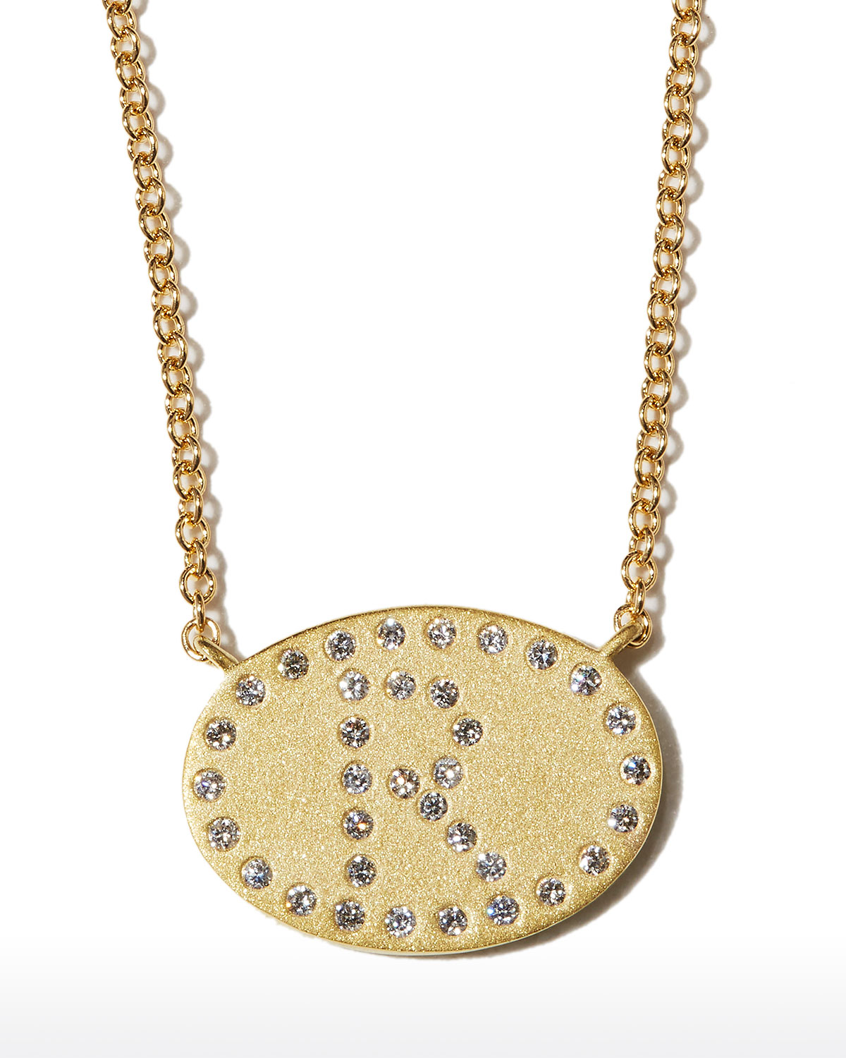 """18k Yellow Gold Diamond Initial """"R"""" Oval Necklace"""