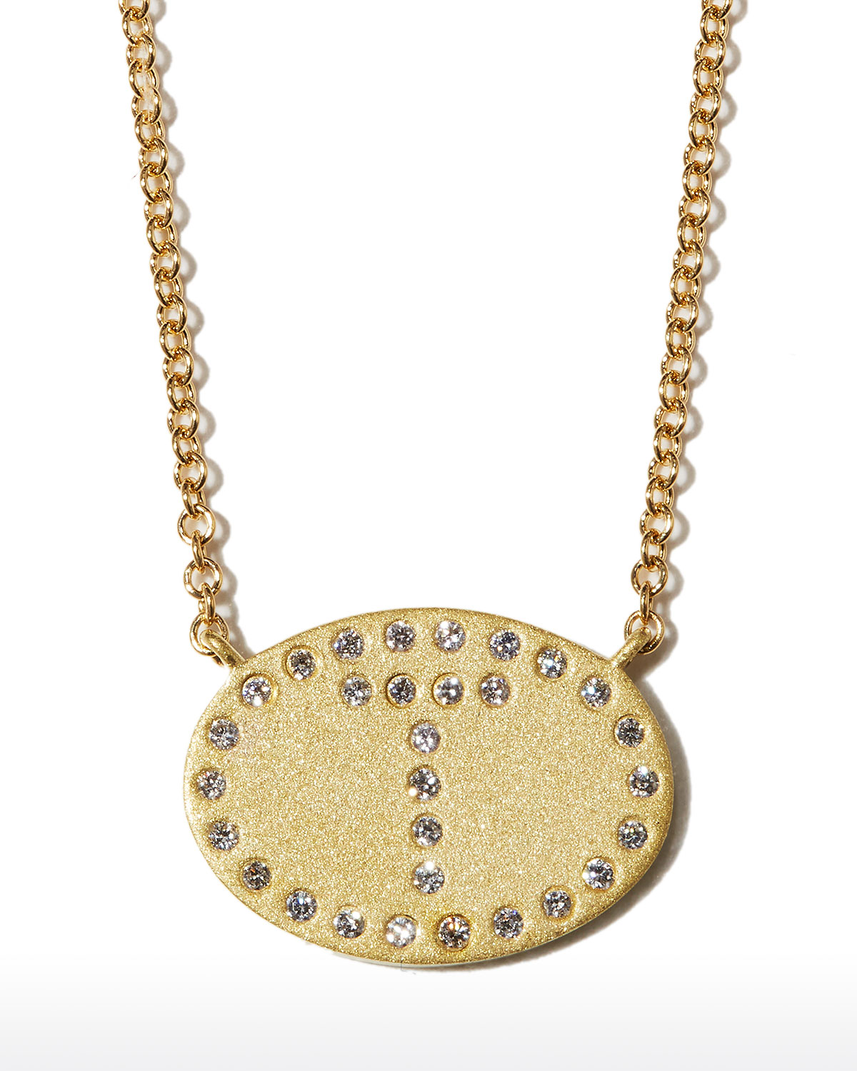 """18k Yellow Gold Diamond Initial """"T"""" Oval Necklace"""