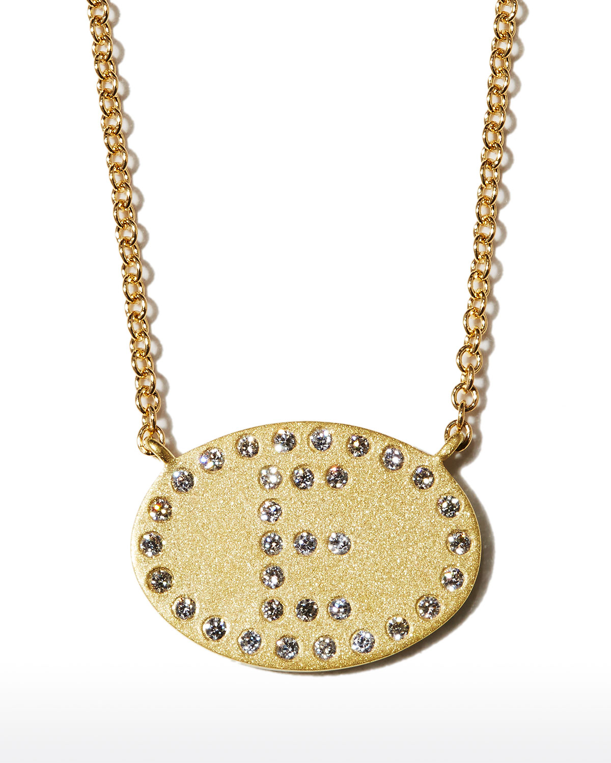 """18k Yellow Gold Diamond Initial """"E"""" Oval Necklace"""