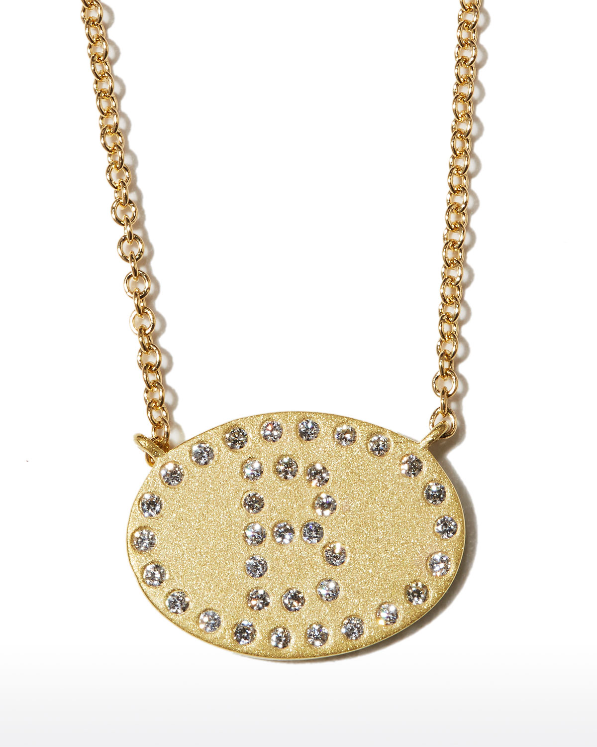 """18k Yellow Gold Diamond Initial """"B"""" Oval Necklace"""
