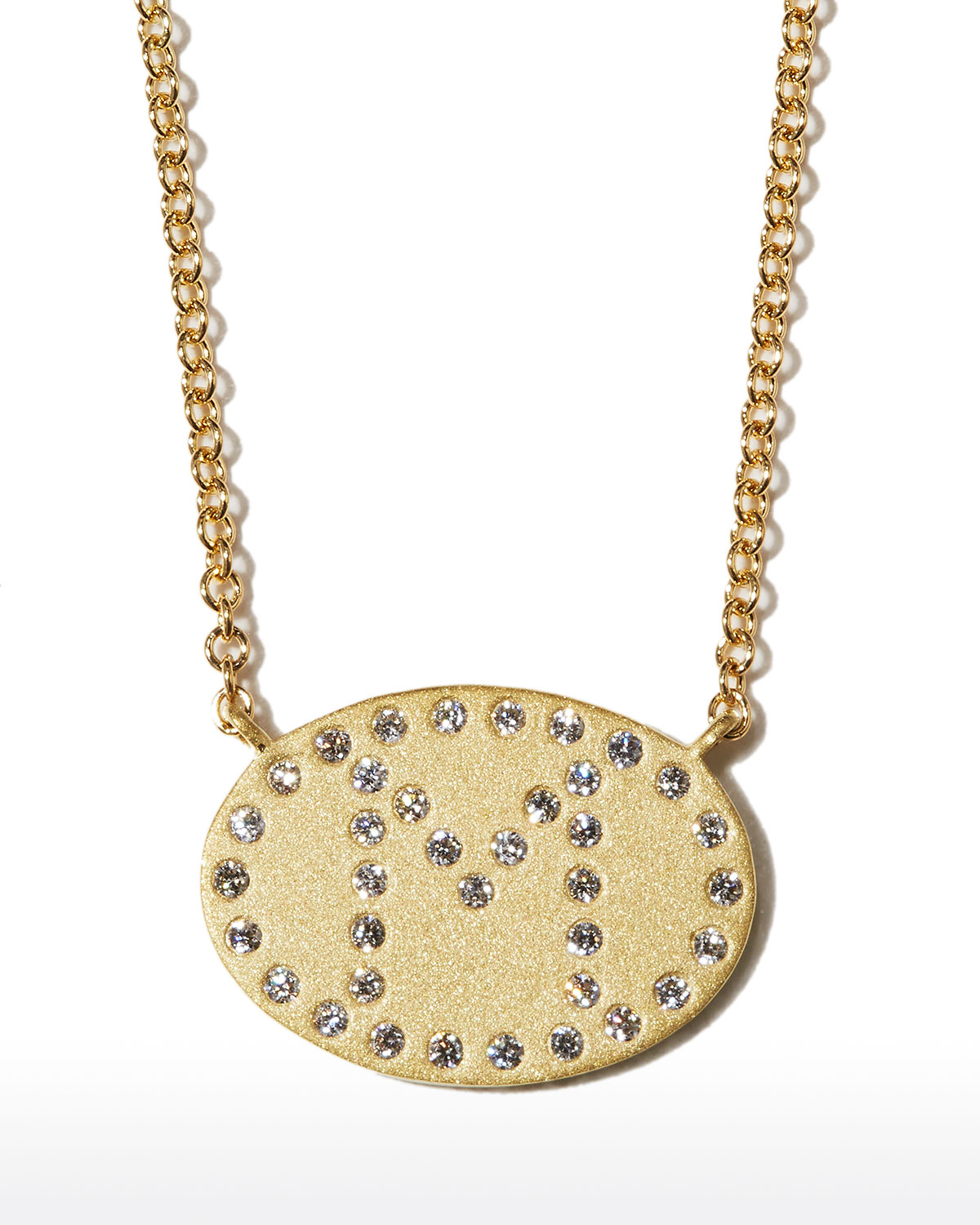 """18k Yellow Gold Diamond Initial """"M"""" Oval Necklace"""