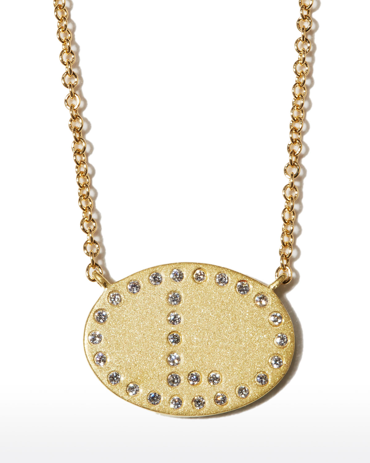 """18k Yellow Gold Diamond Initial """"L"""" Oval Necklace"""