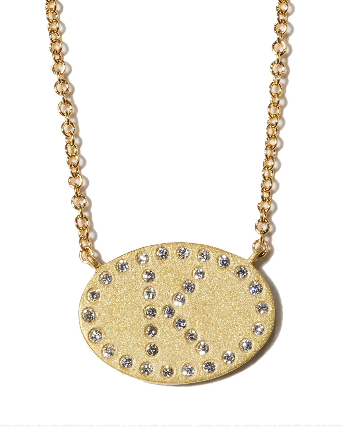 """18k Yellow Gold Diamond Initial """"K"""" Oval Necklace"""