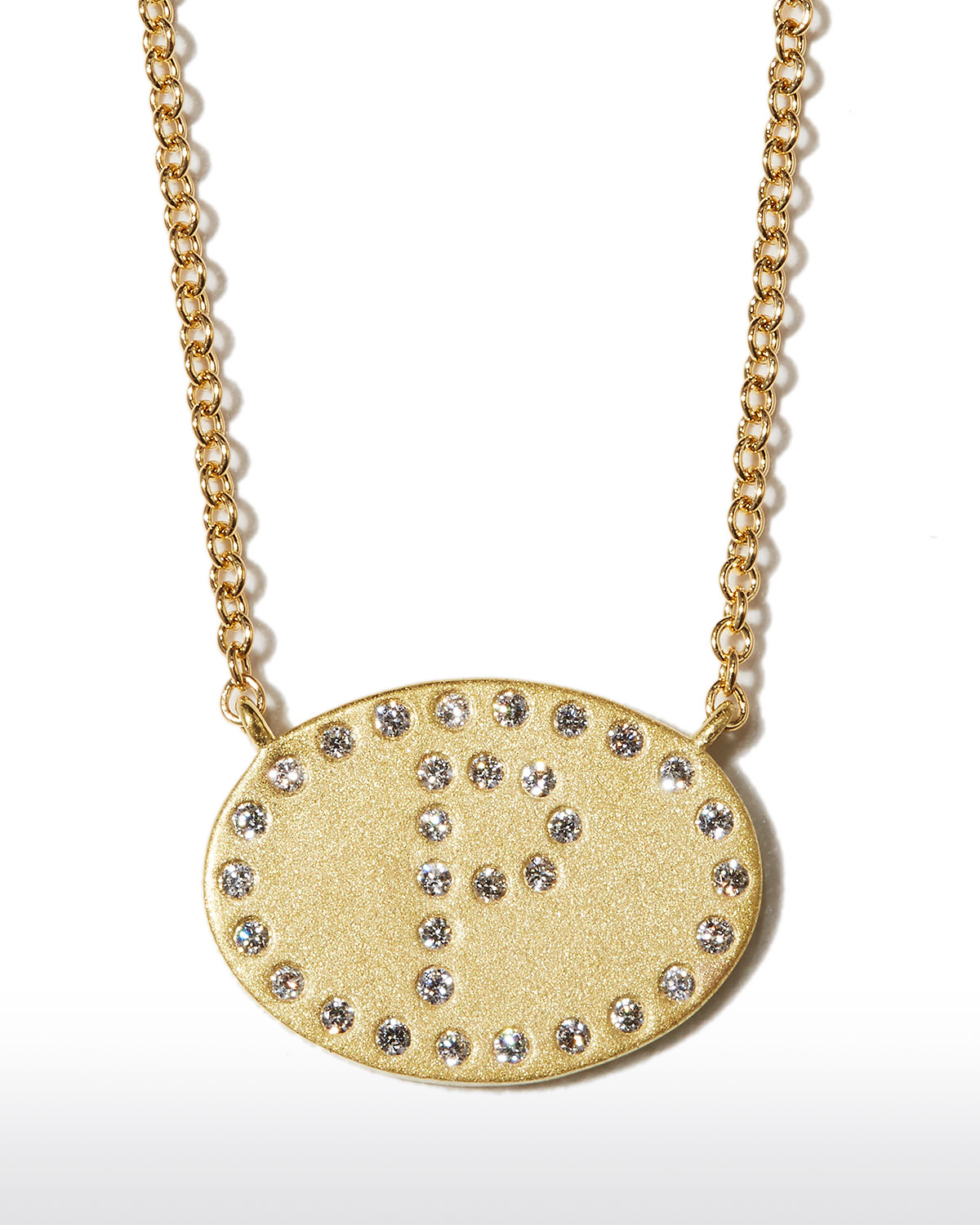"""18k Yellow Gold Diamond Initial """"P"""" Oval Necklace"""