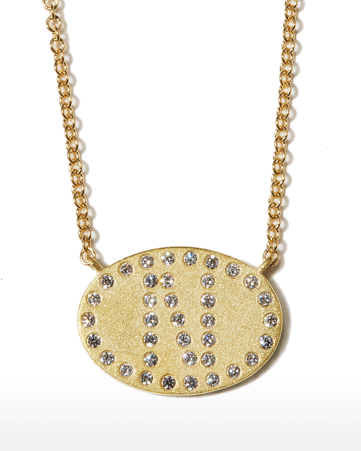 """18k Yellow Gold Diamond Initial """"N"""" Oval Necklace"""