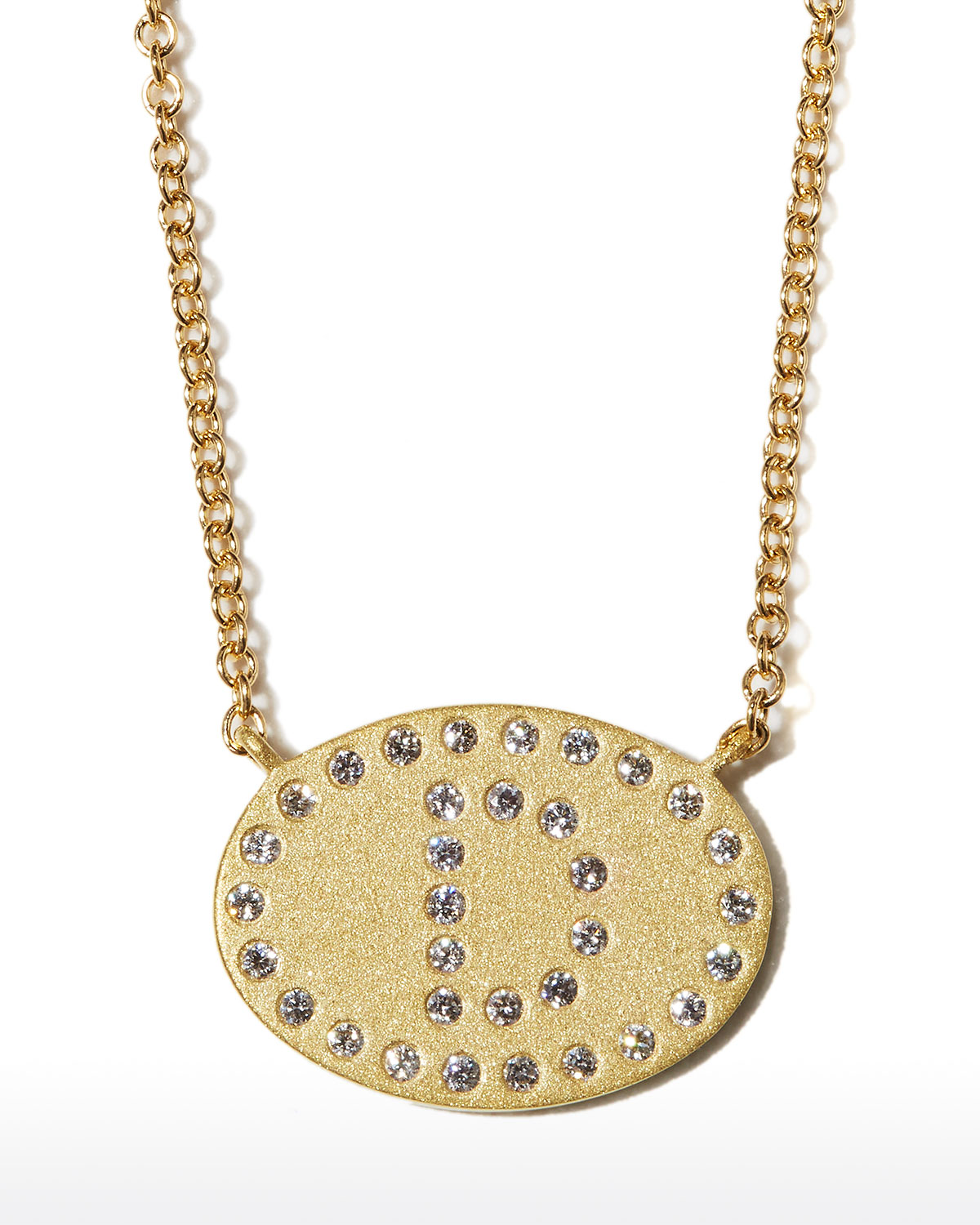 """18k Yellow Gold Diamond Initial """"D"""" Oval Necklace"""