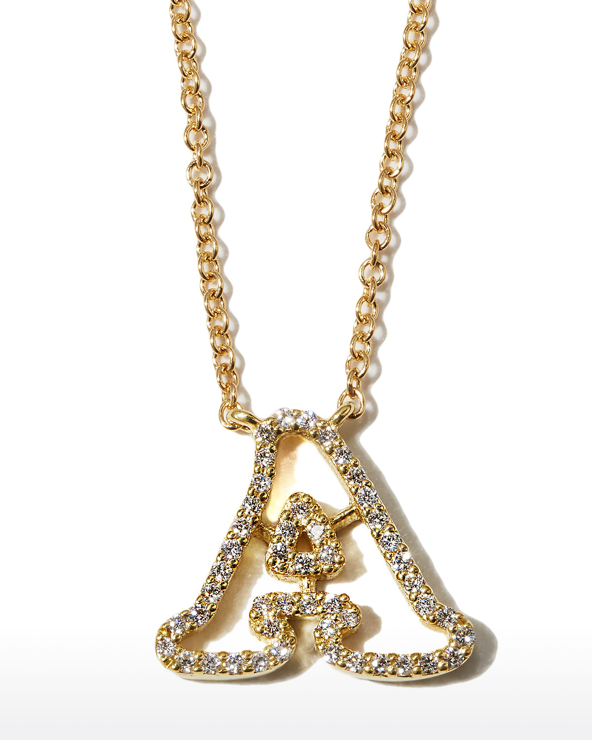 """18k Yellow Gold Diamond Initial """"A"""" Necklace"""