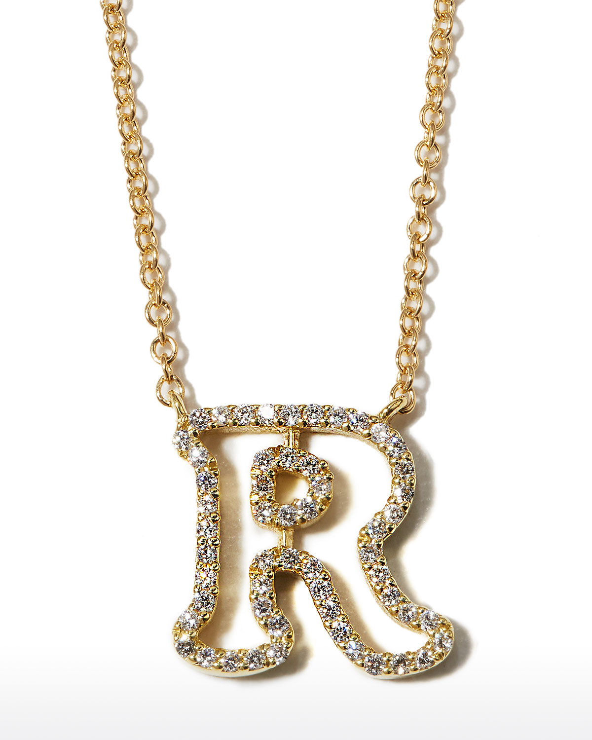 """18k Yellow Gold Diamond Initial """"R"""" Necklace"""