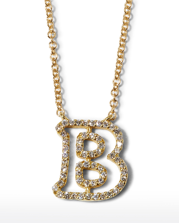 "18k Yellow Gold Diamond Initial ""B"" Necklace"