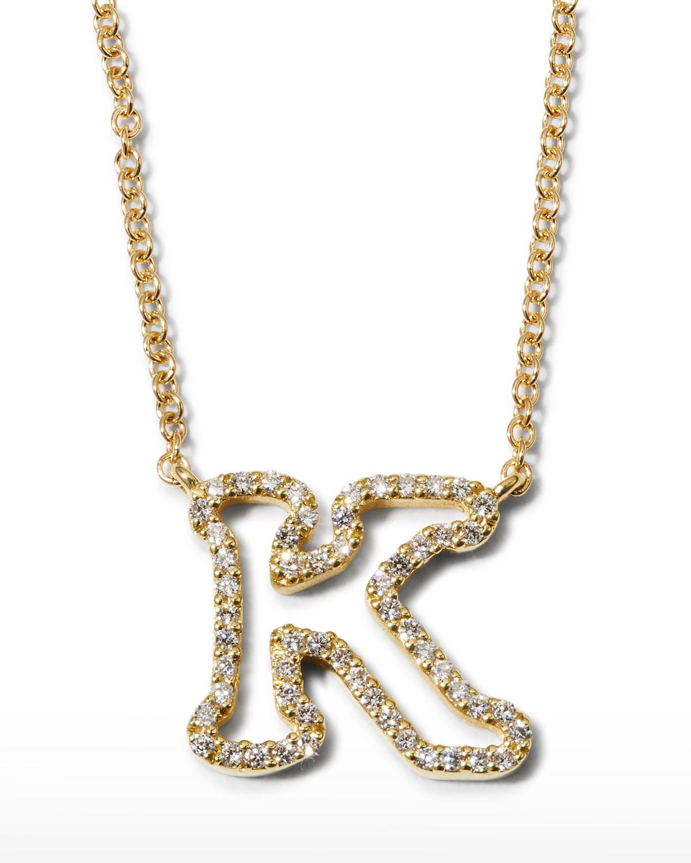"18k Yellow Gold Diamond Initial ""K"" Necklace"