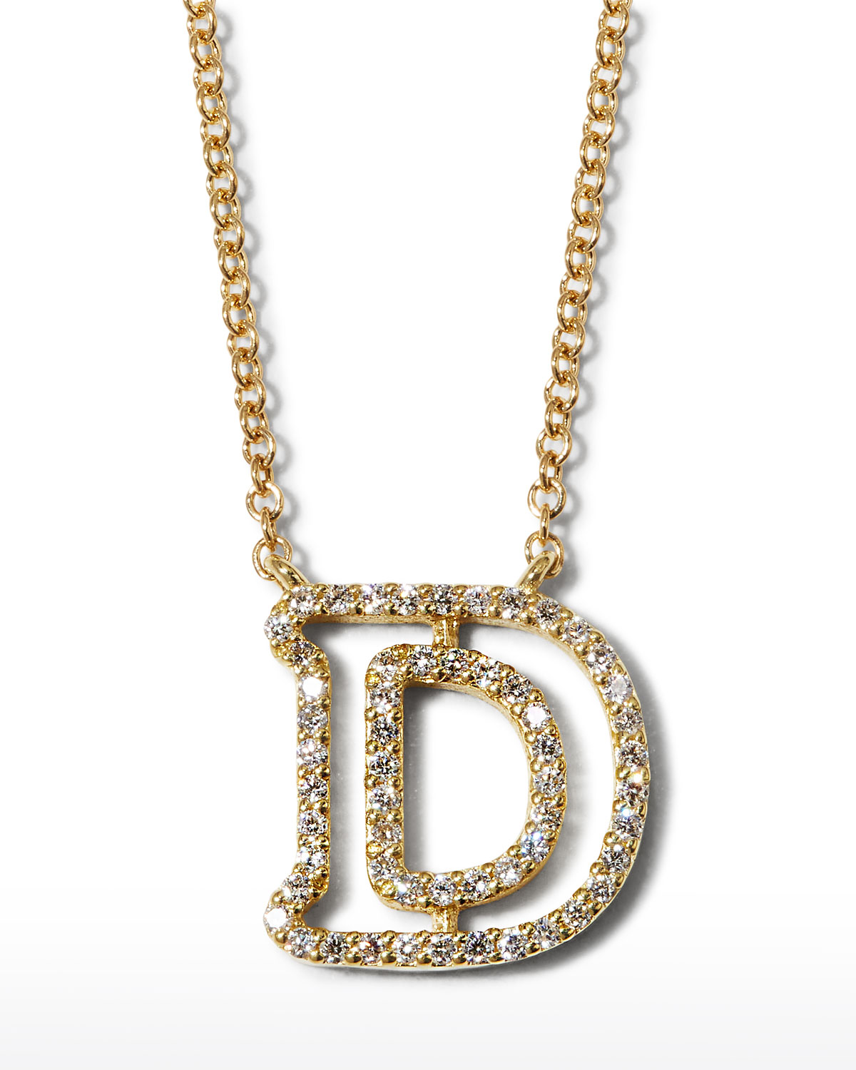 """18k Yellow Gold Diamond Initial """"D"""" Necklace"""