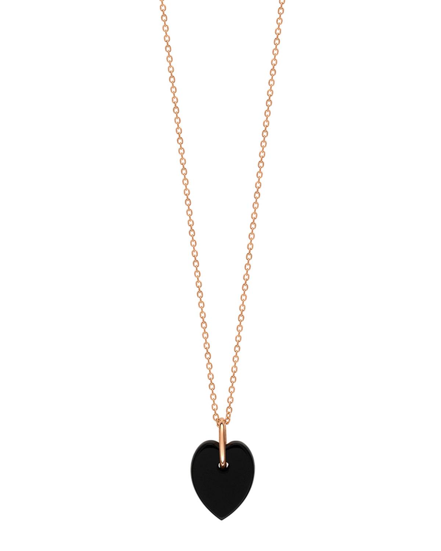 Angele Mini Onyx Heart on Chain Necklace