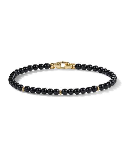 handmade beaded bracelet Black onyx matte finish metal bead stretch bracelet