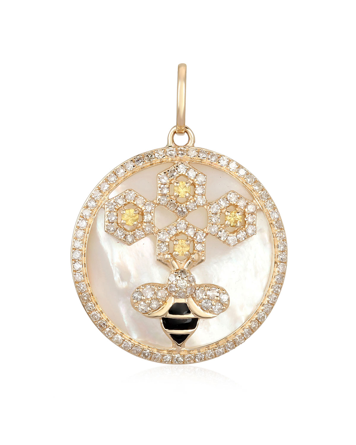 Honeycomb Bee Mother-of-Pearl and Diamond Pendant
