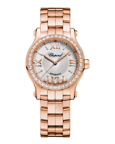 Happy Sport 18K Rose Gold Automatic Watch with Diamonds
