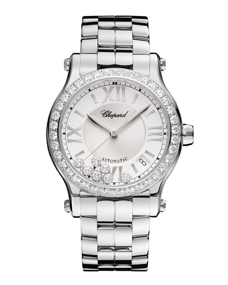 Chopard 36mm Happy Sport Automatic Watch with Diamonds