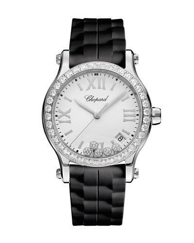 Happy Sport Medium 36mm Stainless Steel Watch with Diamonds