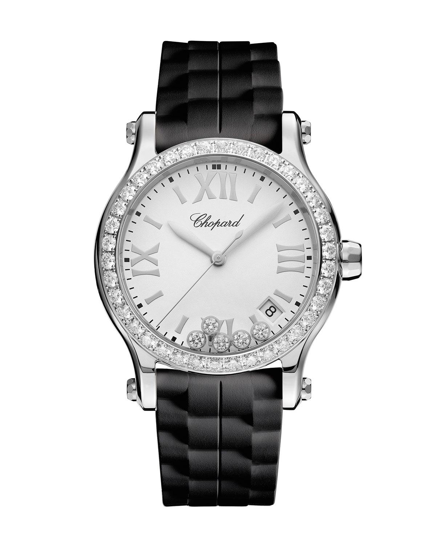 36 mm Happy Sport Medium Stainless Steel Watch with Diamonds
