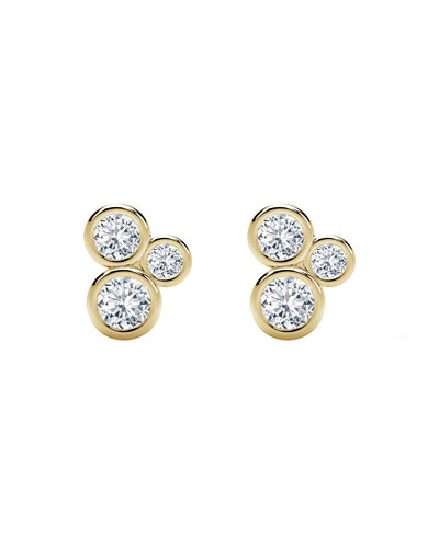 Tribute 18k Gold 3-Diamond Bezel Stud Earrings
