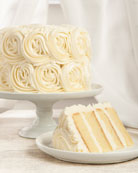 White Buttercream Rose Cake