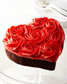 Red Rose Heart-Shaped Cake