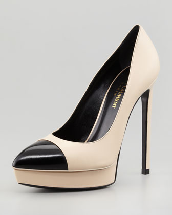 Janis Two-Tone Cap-Toe Platform Pump, Poudre/Black