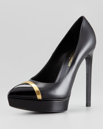 Janis Metal-Trim Cap-Toe Platform Pump