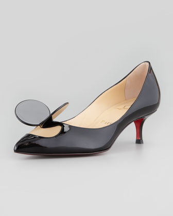 Madame Mouse Low-Heel Patent Red Sole Pump