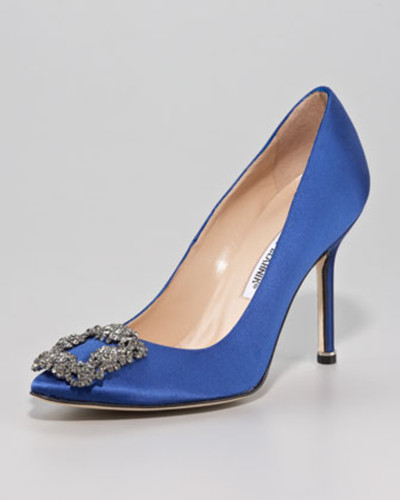 Hangisi Satin 115mm Crystal-Toe Pump, Blue