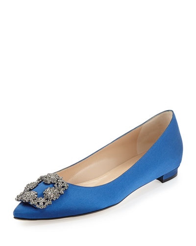 Hangisi Crystal-Buckle Satin Flat, Blue