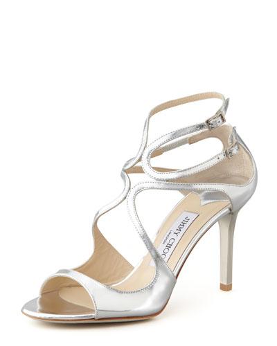 Ivette Strappy Metallic Sandal, Silver
