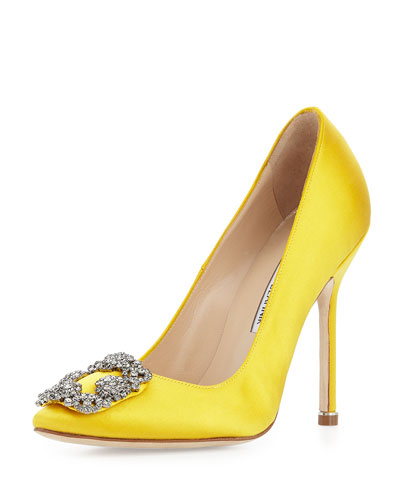 Hangisi Satin Crystal-Toe Pump, Yellow