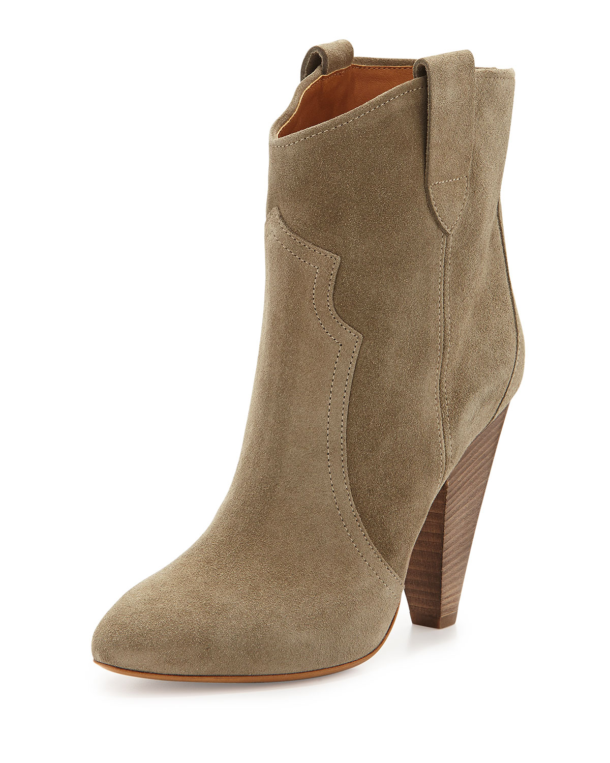 Roxann Suede Western Boot, Taupe