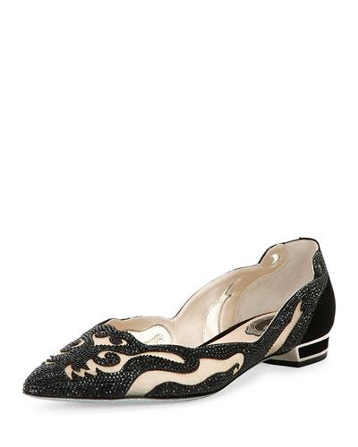 Crystal-Embellished Curvy Suede Flat, Black/Jet