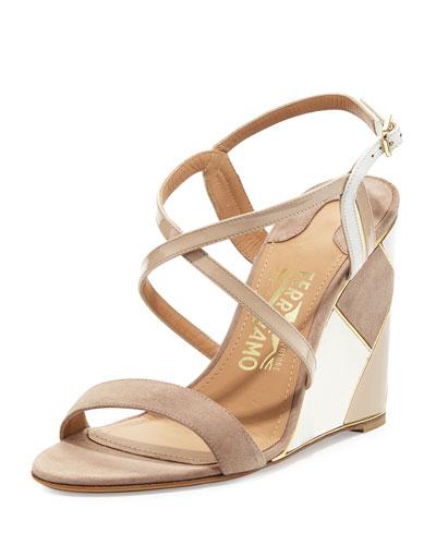 Patchwork Wedge Sandal, Beige