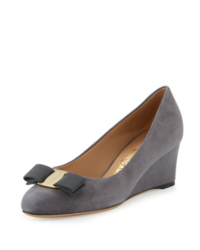 Mirabel Suede Wedge Pump, Smoke