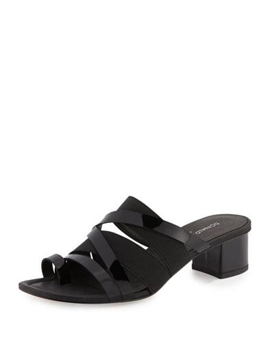 Melisa Patent Strappy Slide Sandal, Black
