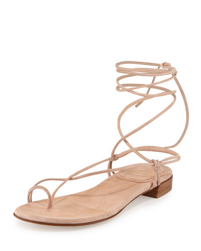 Nieta Striped Lace-Up Sandal, Bisque Prism